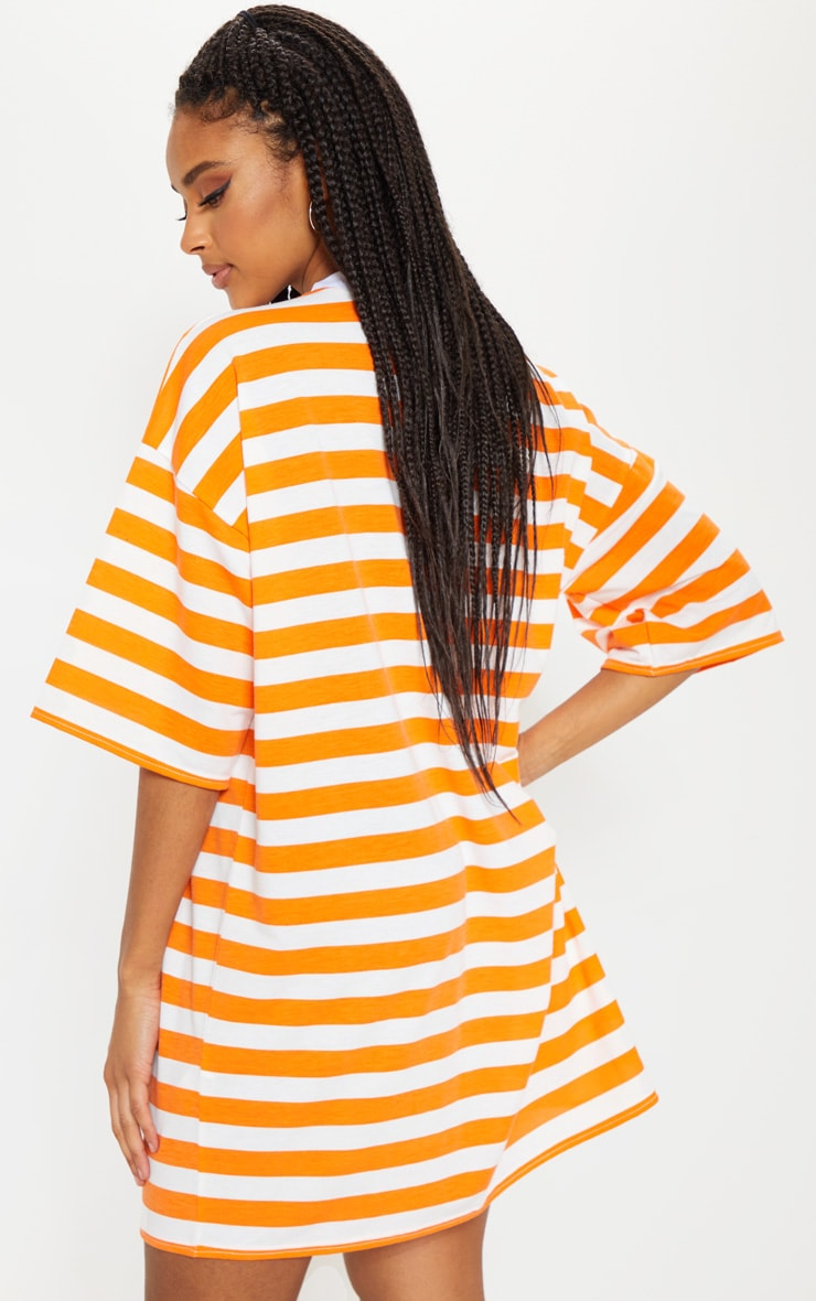 Orange Stripe Oversized Boyfriend T Shirt Dress 2