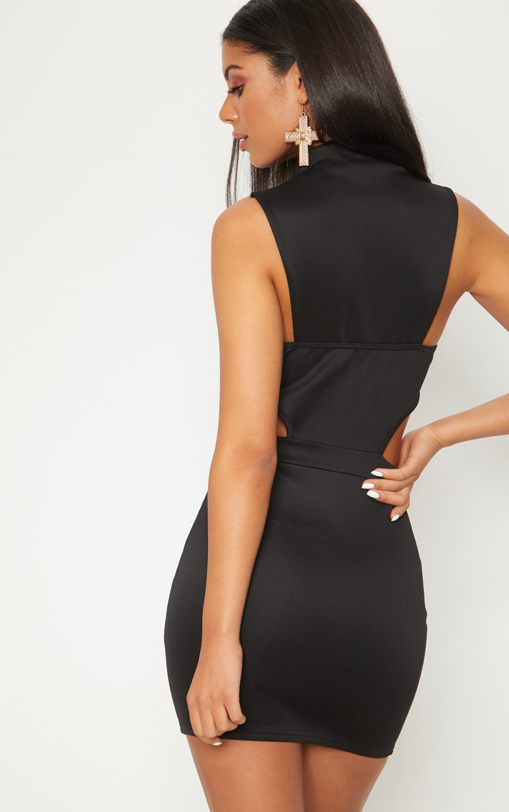 Black Collar Detail Cut Detail Bodycon Dress 2