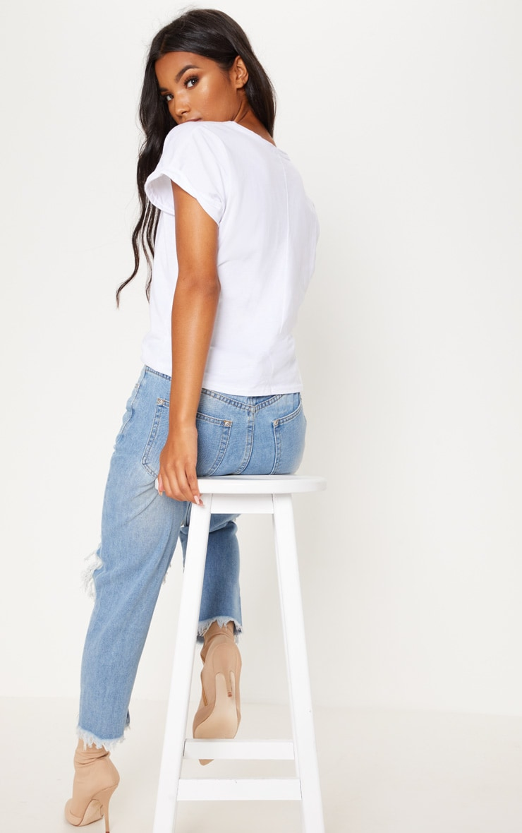 White Basic Low Arm T Shirt 2