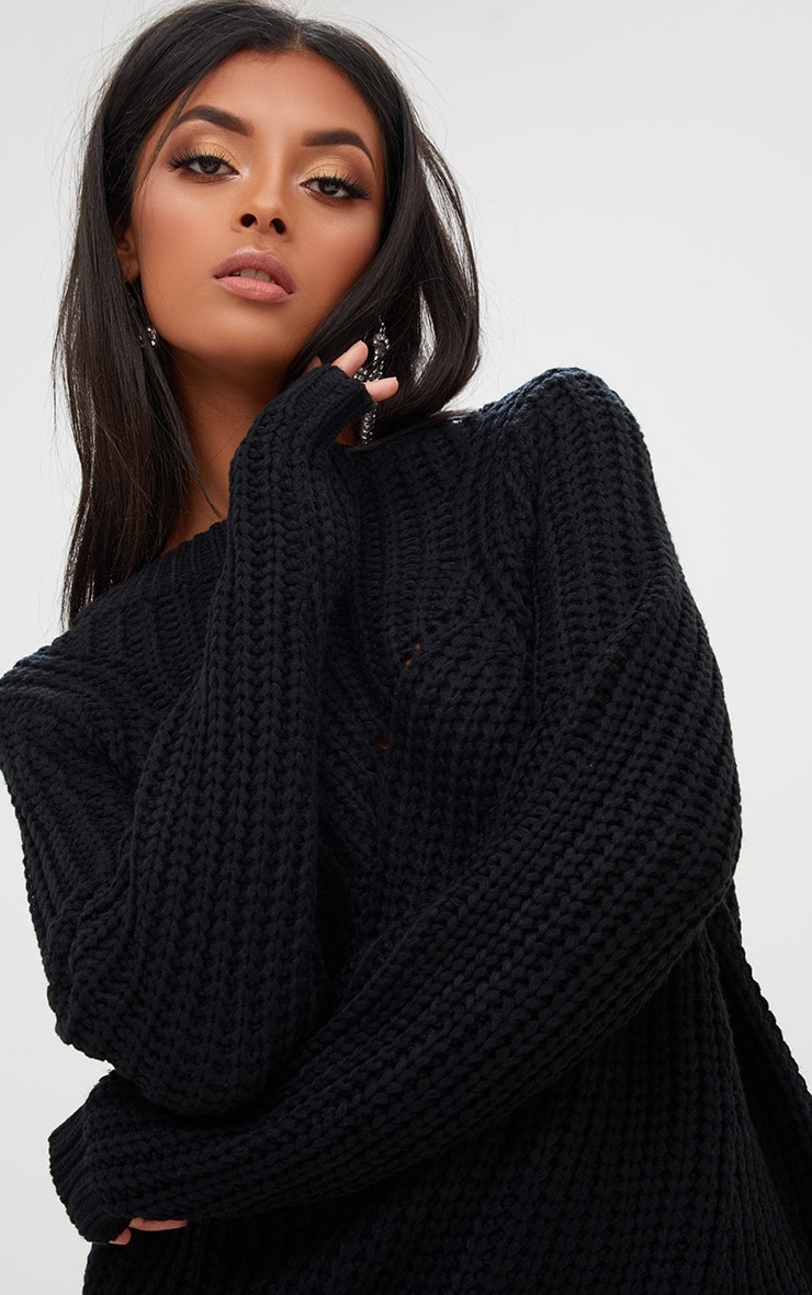 Black Chunky Knit Round Neck Jumper 5