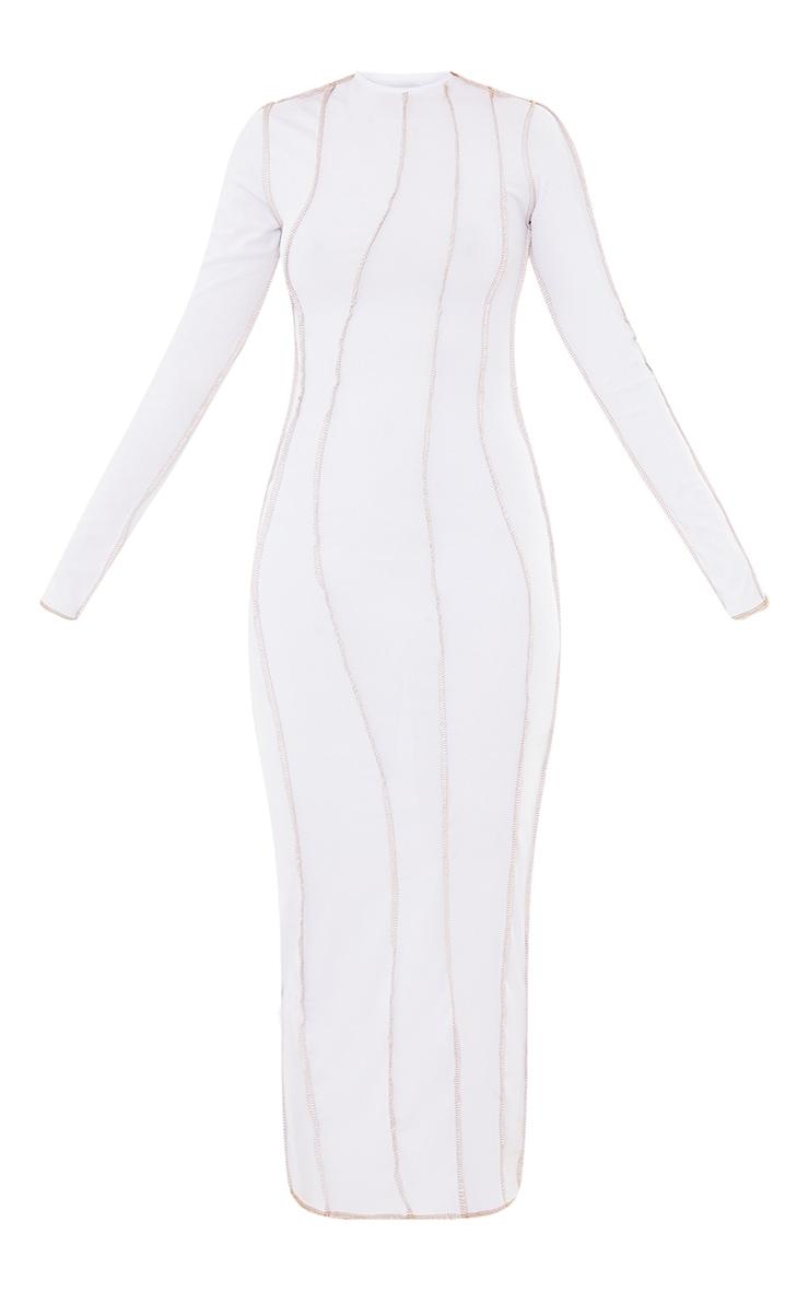 White Rib Asymmetric Seam Detail Long Sleeve Midi Dress 5