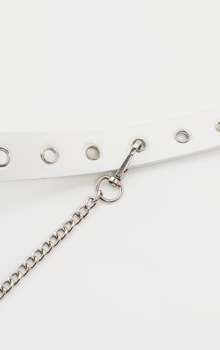 White Eyelet and Chain Detail Belt 3