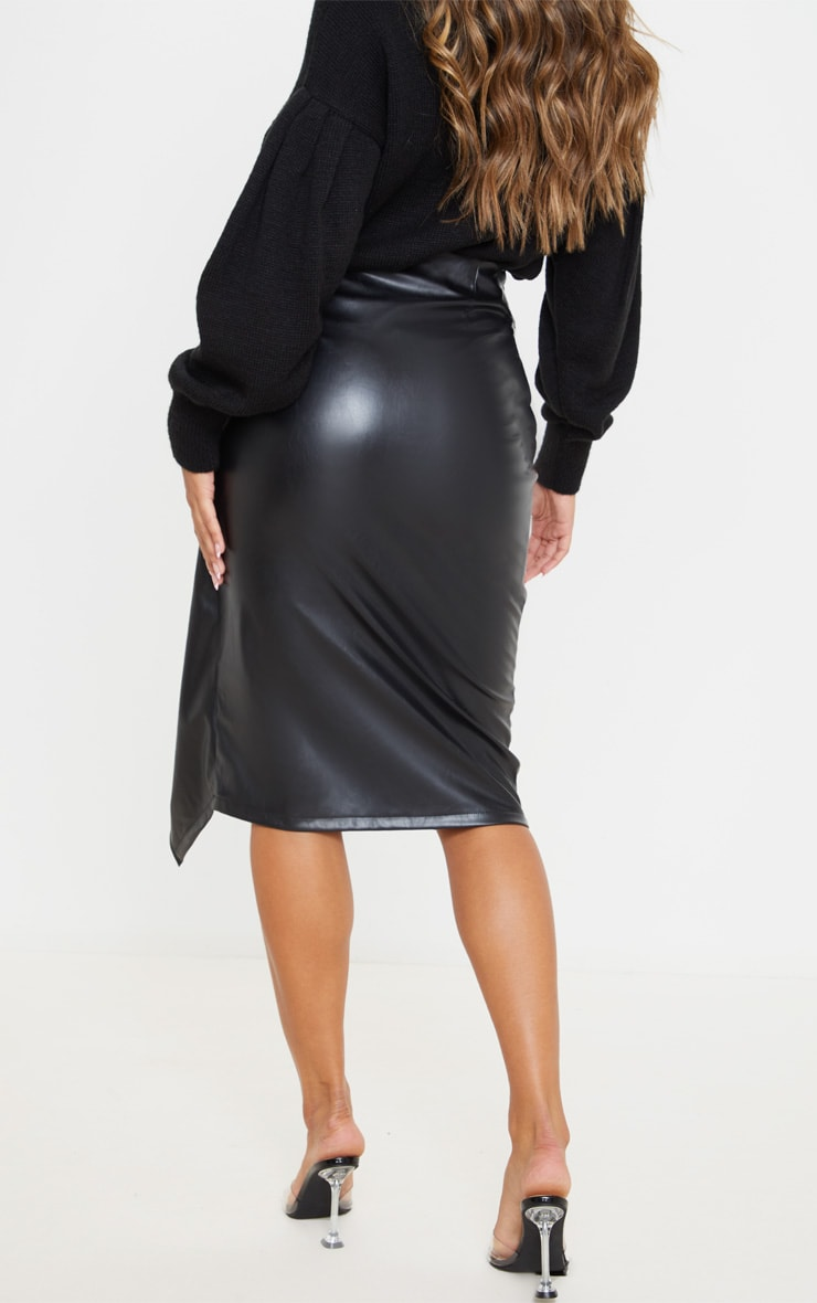 Black Faux Leather Drape Front Midi Skirt  4