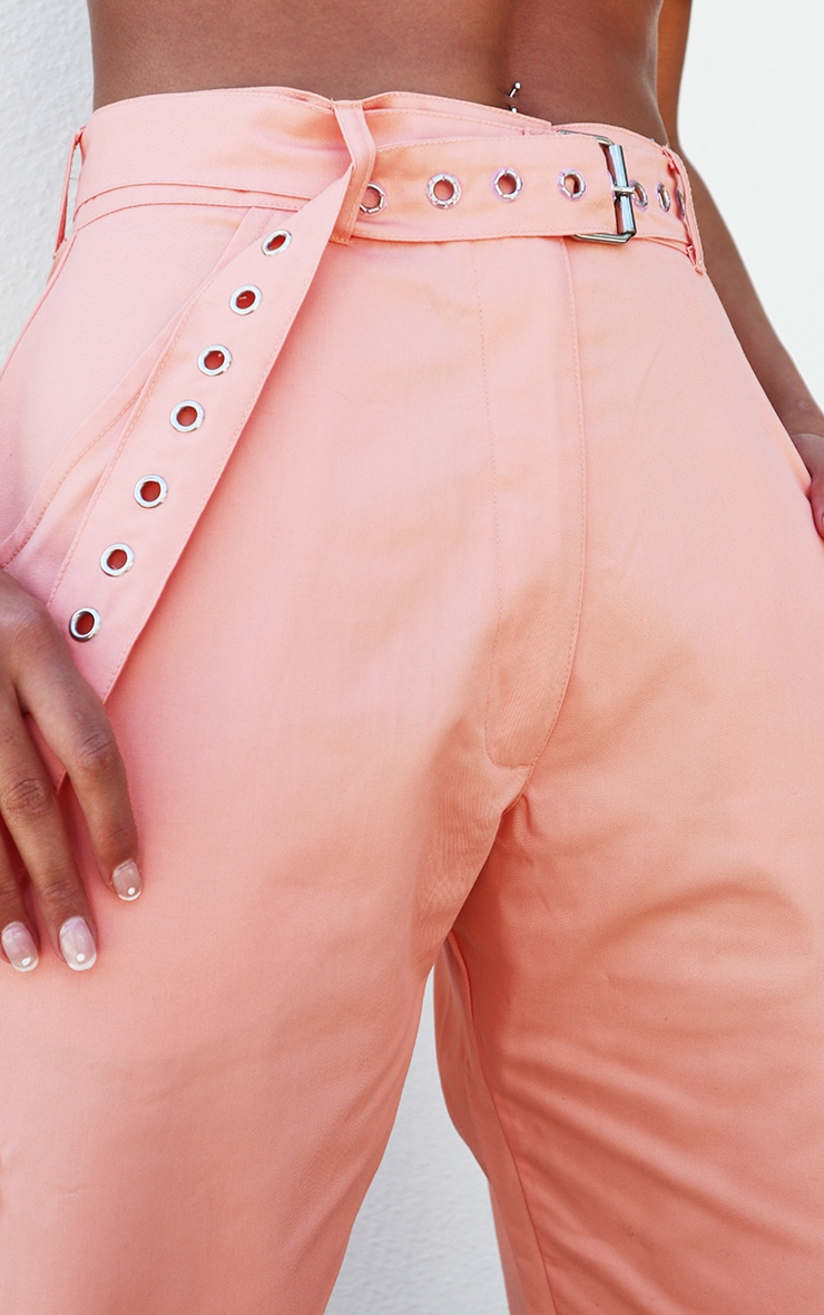 Peach Eyelet Detail Belted Cargo Pants 4