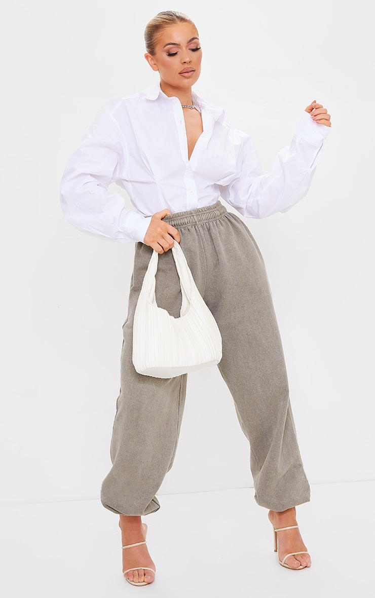 White Poplin Fitted Detail Long Sleeve Shirt 3