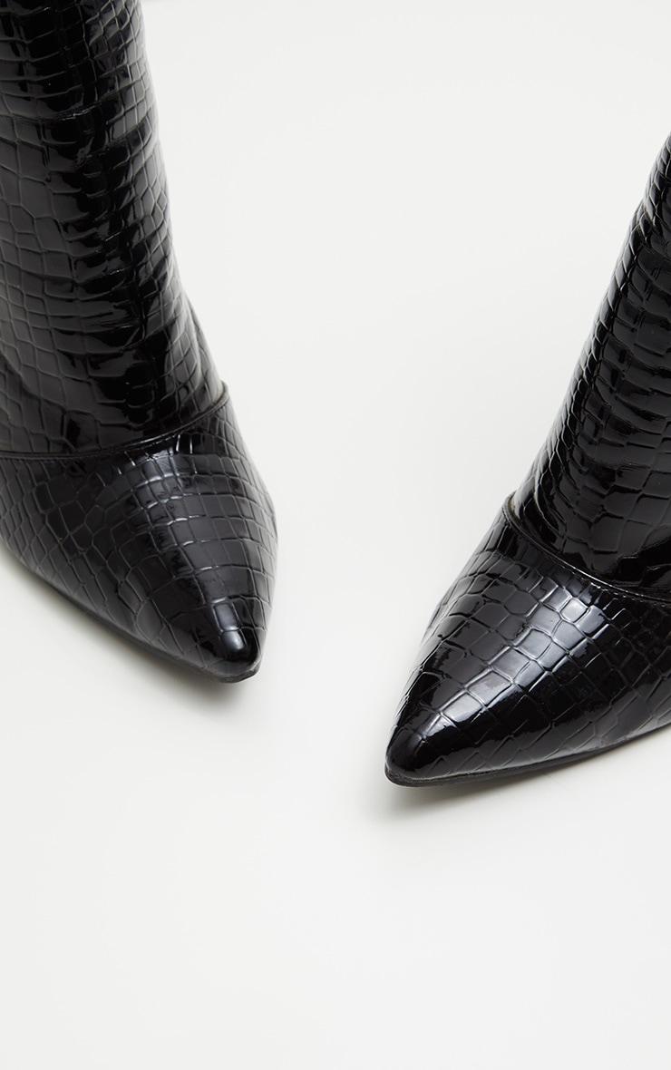 Black Patent Faux Croc Lace Up Back High Boot 4
