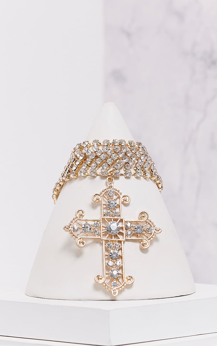 Ena Gold Diamante Detail Cross Choker 3