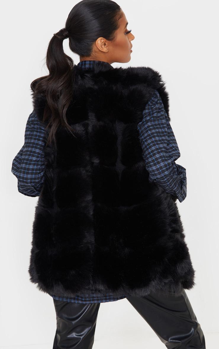 Black Faux Fur Longline Gilet 2