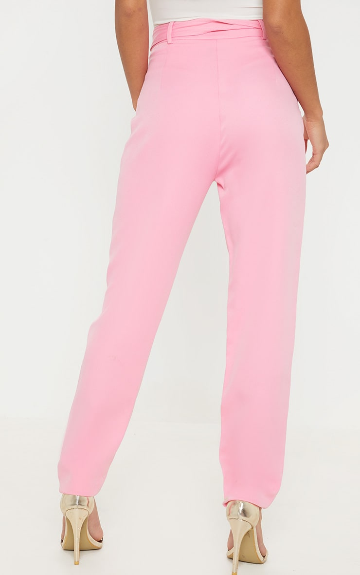 Petite Pink High Waist Belt Detail Straight Leg Trouser 4