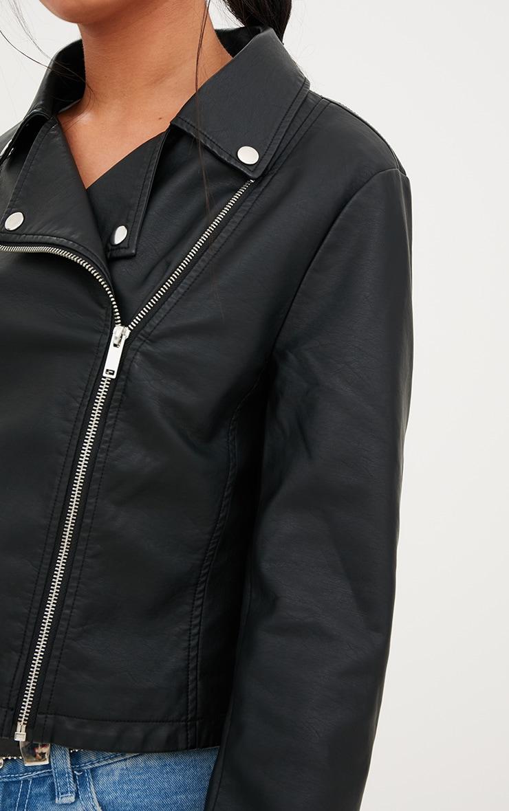 Black PU Biker Jacket With Pocket Detail 5