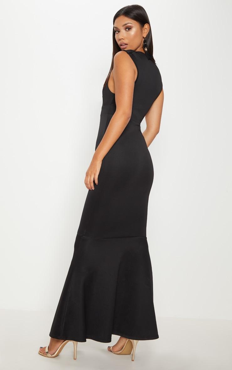 Black Extreme Plunge Shoulder Detail Fishtail Maxi Dress 2
