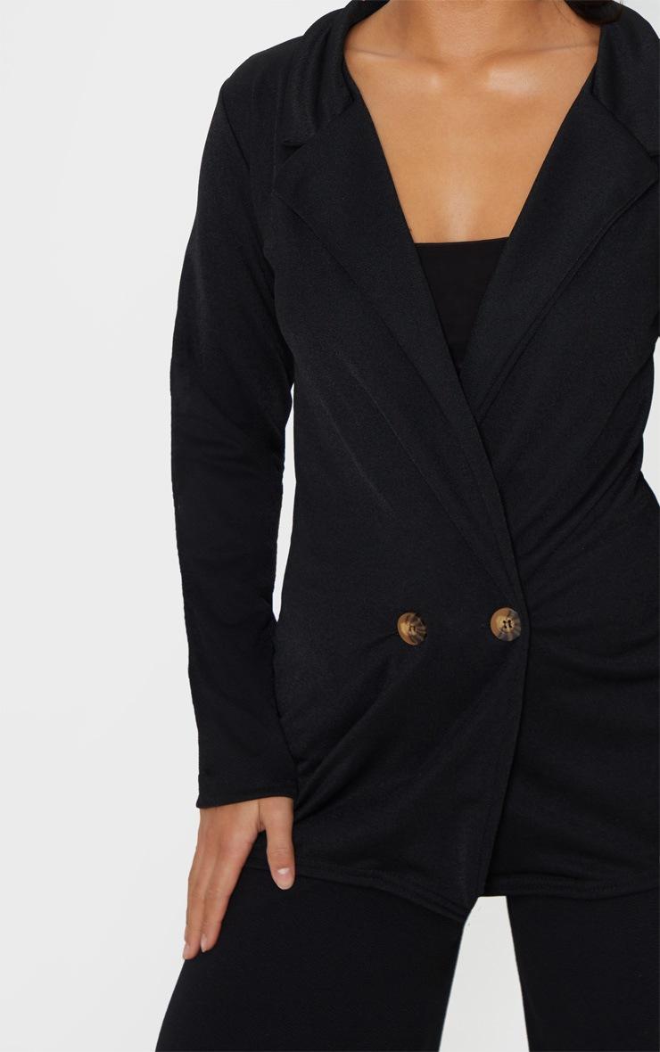 Petite Black Button Detail Blazer  5