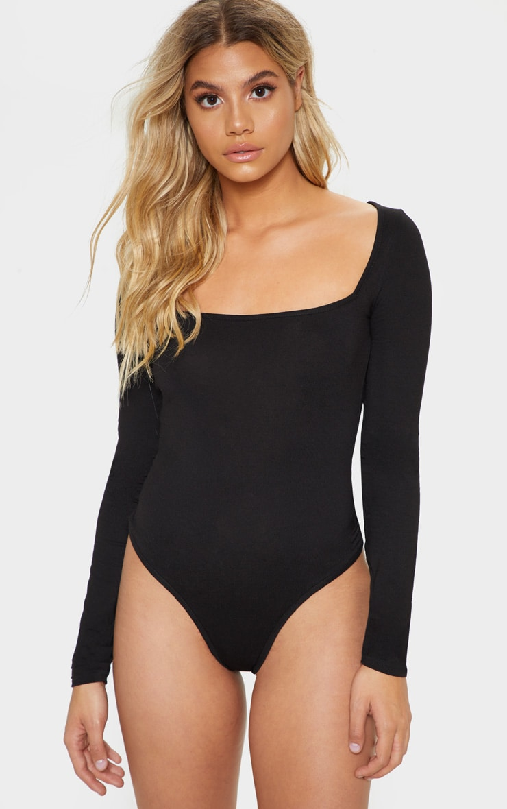 Black Jersey Square Neck Long Sleeve Bodysuit 2