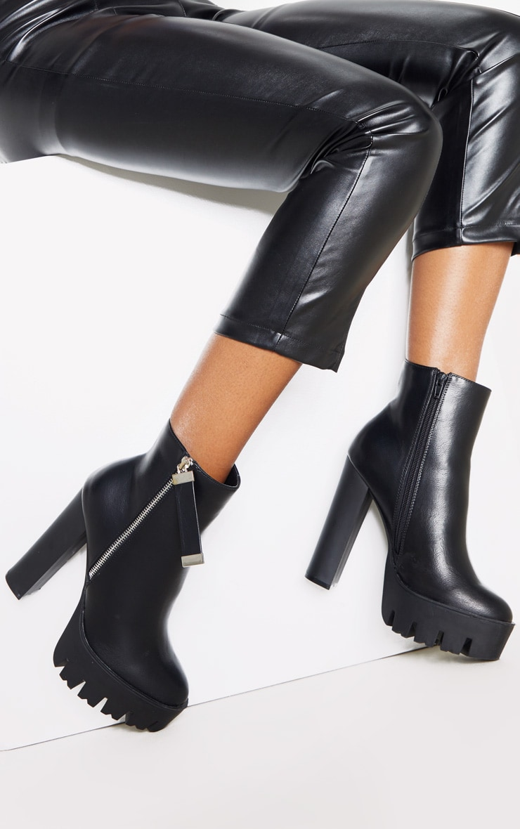 Black Platform Zip Ankle Boot 1