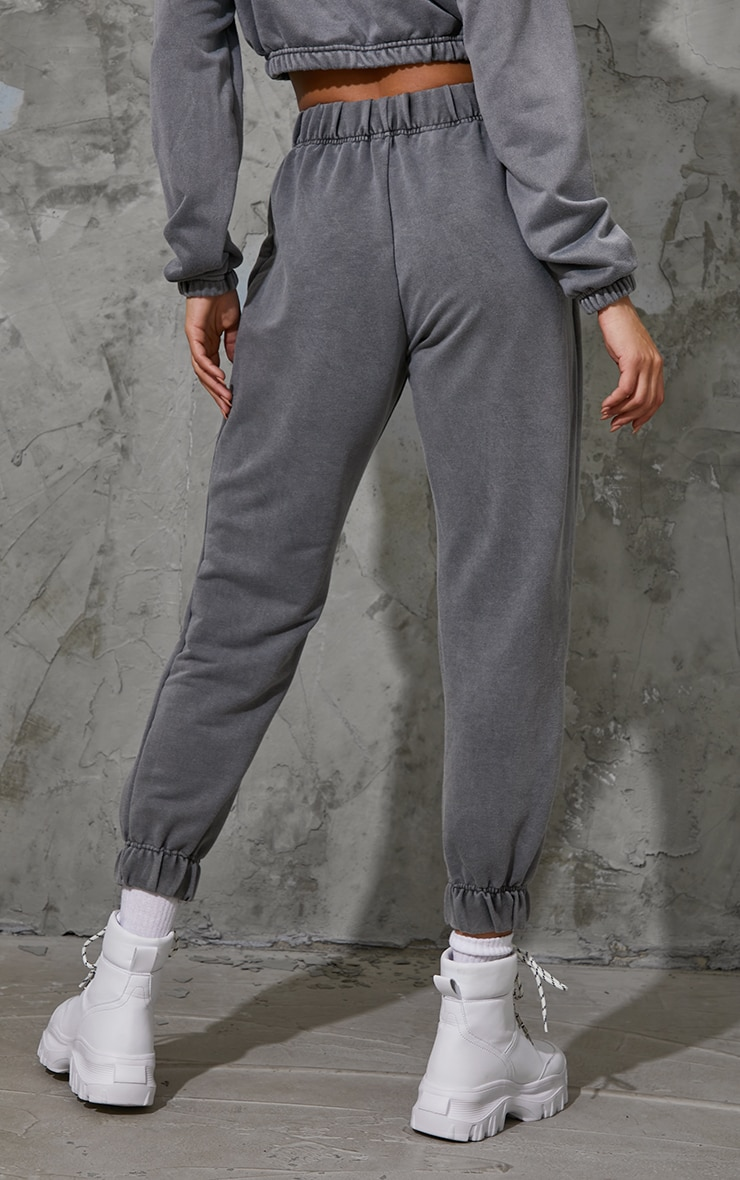 Charcoal Grey Washed High Waist Pocket Detail Cuffed Joggers 3