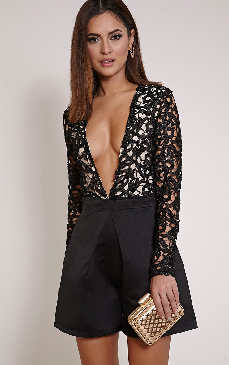 Mailey Black Crochet Lace Plunge Playsuit 1
