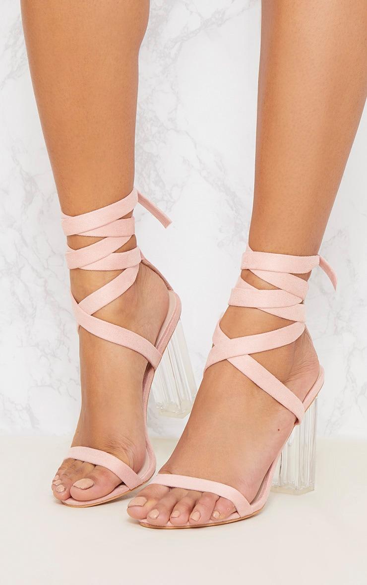 Nude Leg Tie Clear Block Heel Sandals 2