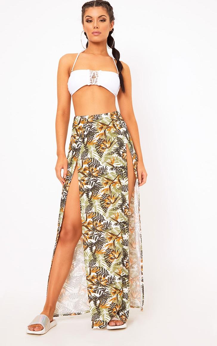 White Tropical Print Double Split Maxi Skirt 1
