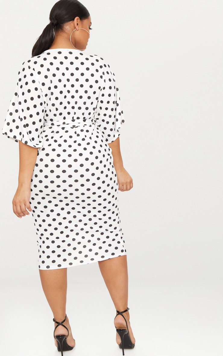 Plus White Tie Waist Polkadot Plunge Kimono Sleeve Midi Dress 2