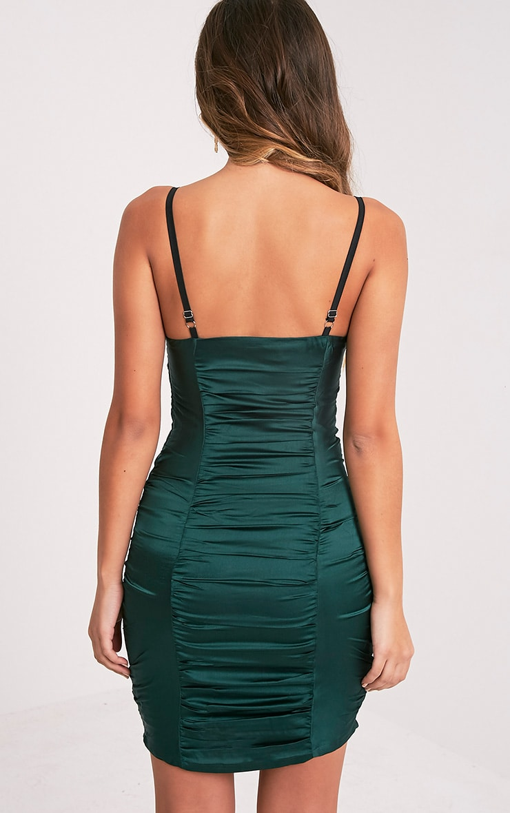 Lauriana Emerald Green Satin Strappy Ruched Bodycon Dress 2