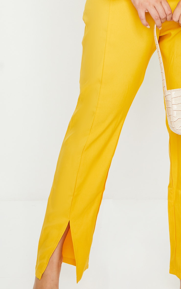 Plus Chartreuse Woven Split Front Pants 4