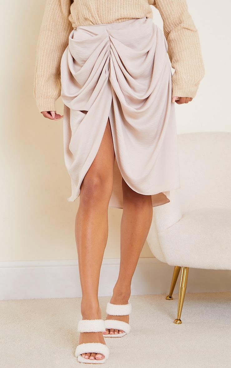 Cream Woven Draped Midi Skirt 2