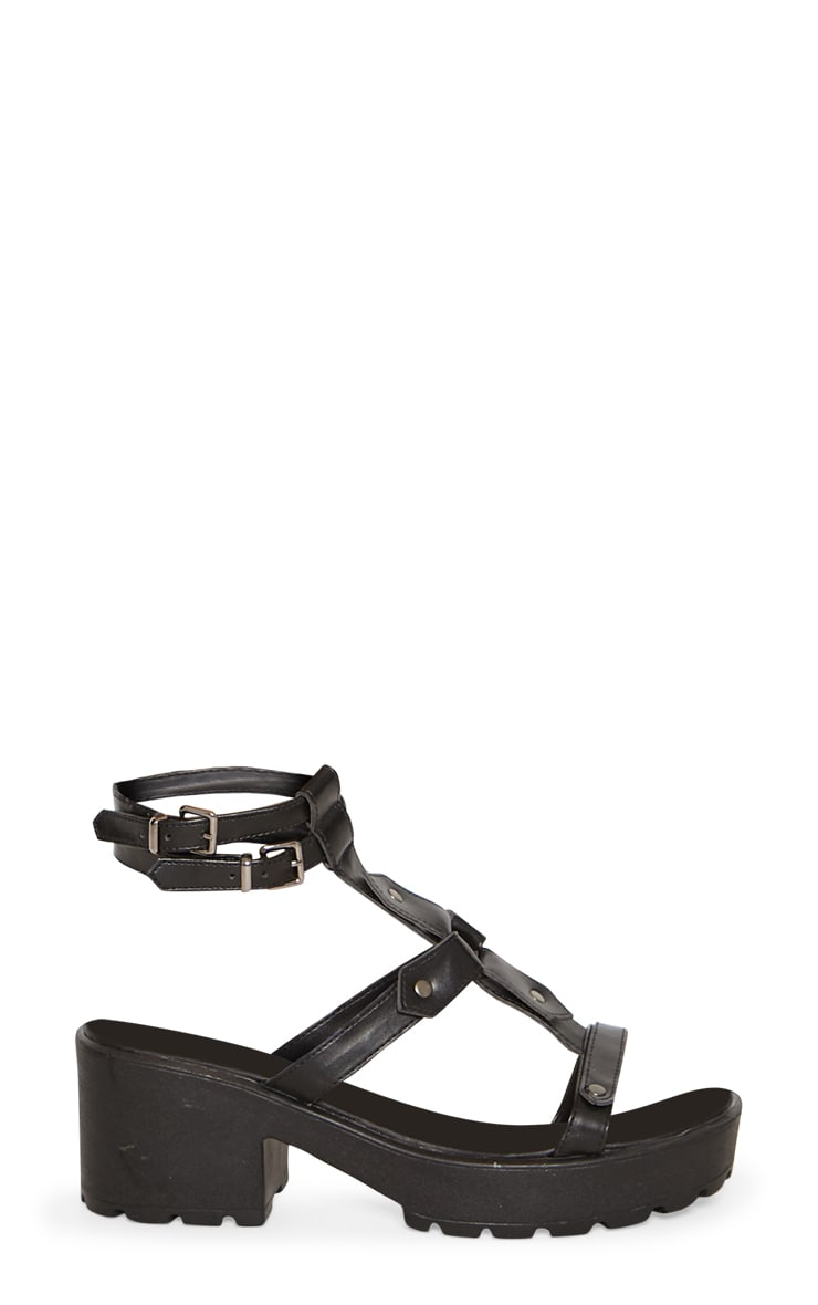 Black Ring Detail Gladiator Chunky Sandal 3