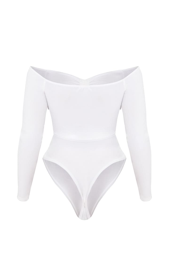 Shape White Ruched Detail Bardot Bodysuit 4