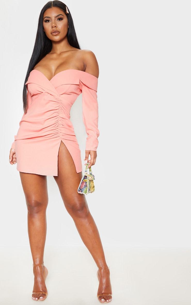 Peach Bardot Ruched Detail Blazer Style Dress 4