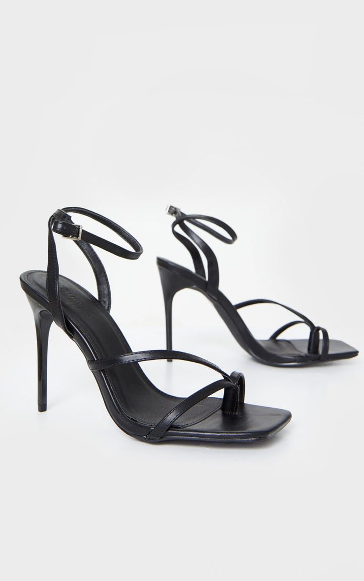 Black PU Square Toe Strappy High Heeled Sandals 3