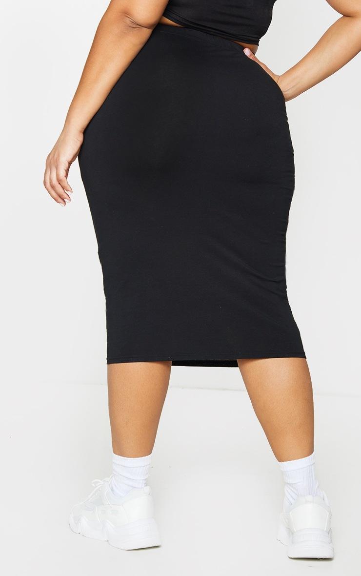Basic Plus Black Jersey Midi Skirt 3