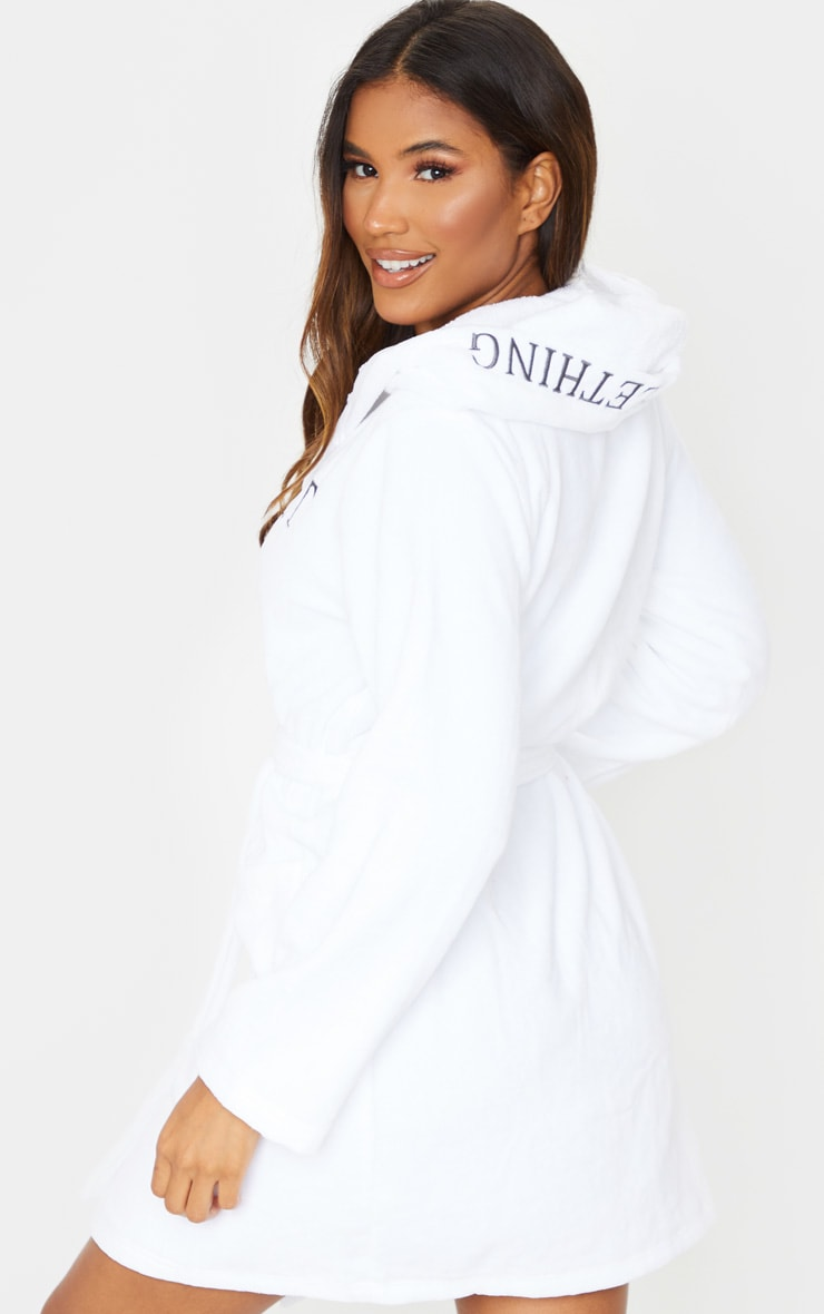 PRETTYLITTLETHING White Hood Detail Towelled Dressing Gown 2