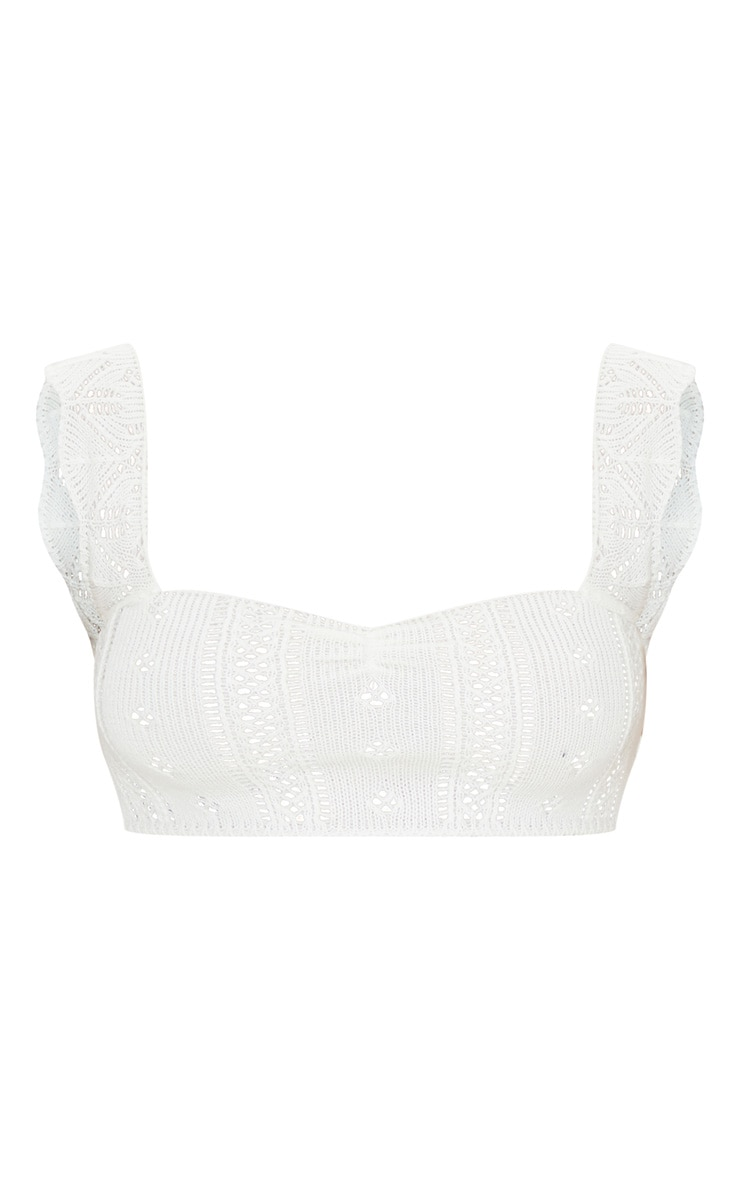 Petite Cream Pointelle Knit Crop Top 4