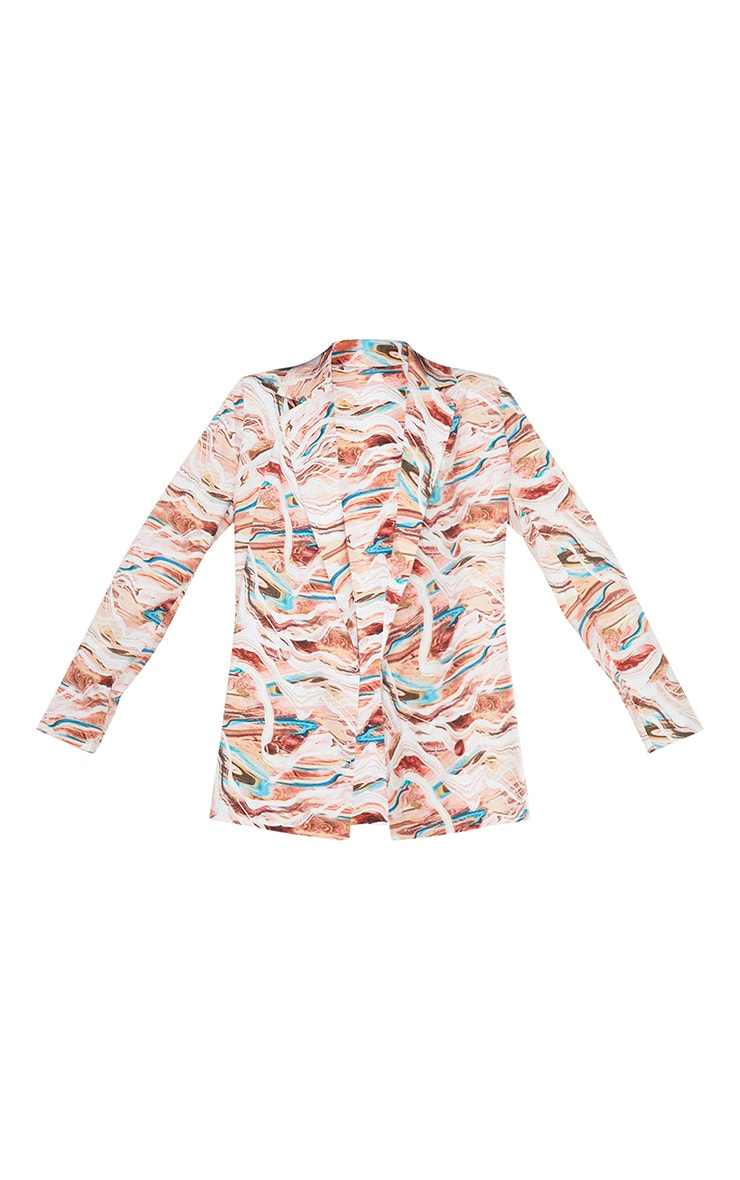 Blue Marble Print Woven Triple Breasted Oversized Blazer 5