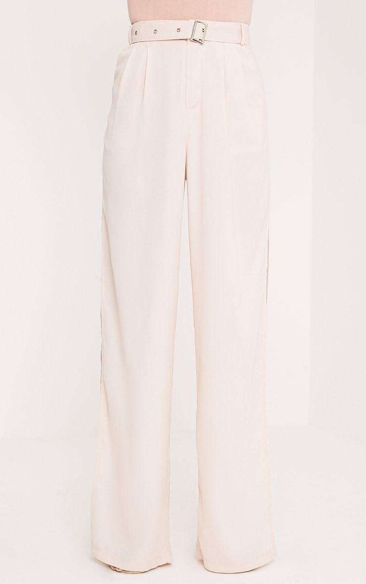 Zaria Nude Belt Side Split Trousers 2