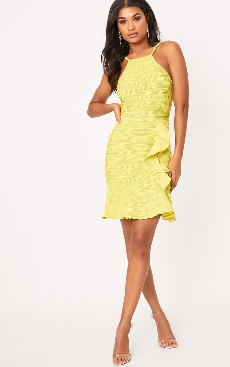 Lime Pleated Ruffle Detail Bodycon Dress 4
