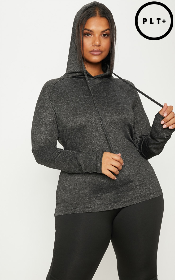 Plus Charcoal Long Sleeve Hooded Gym Top 1