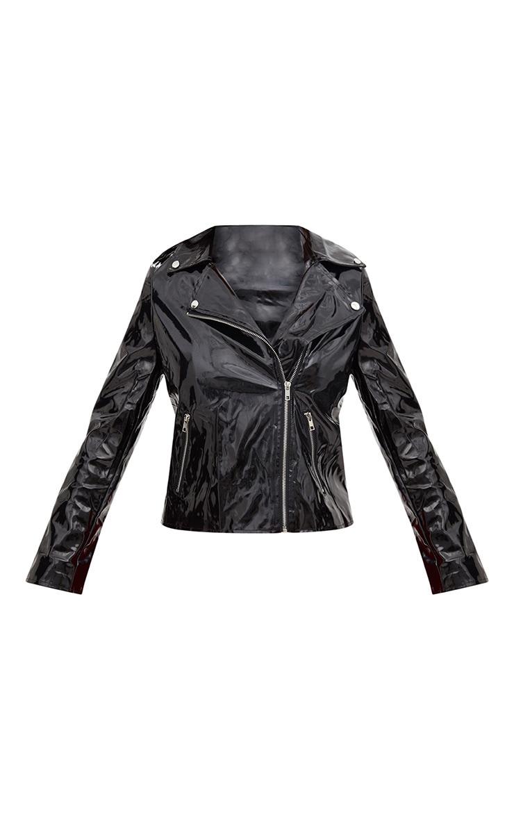 Black Vinyl Biker Jacket 3