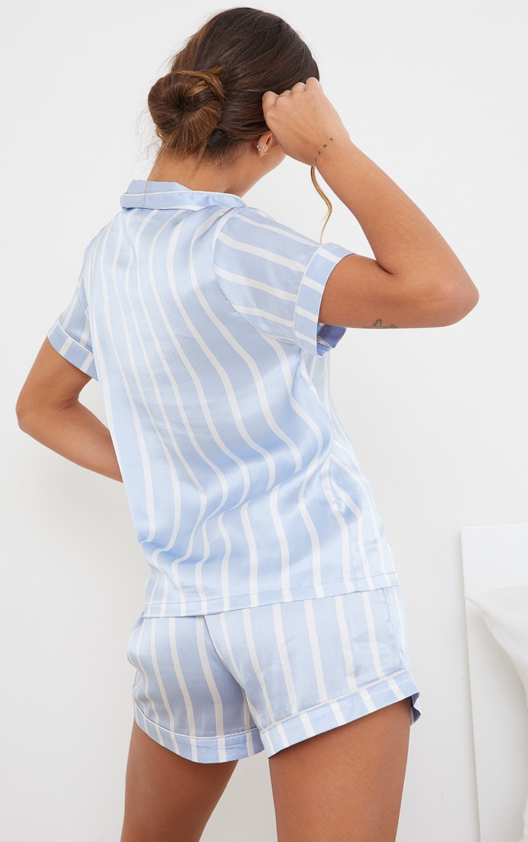 Blue Striped Satin Short Sleeve PJ Set 2