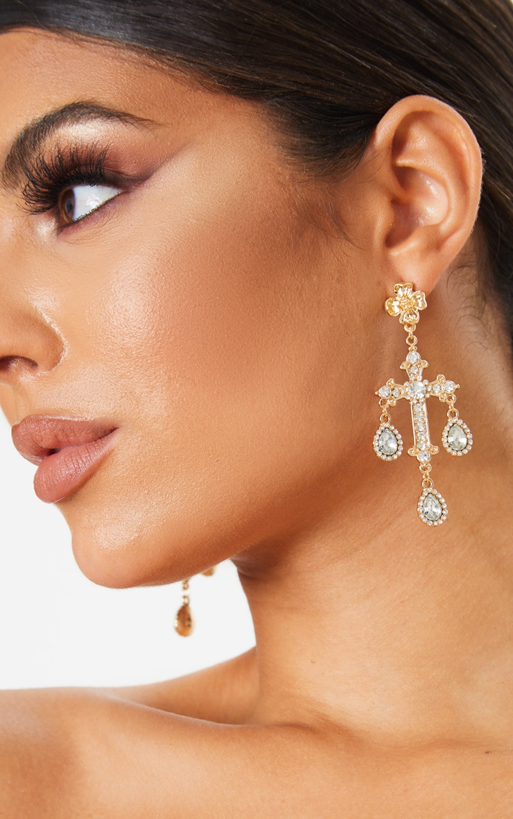 Gold Ornate Diamante Cross Earrings  1