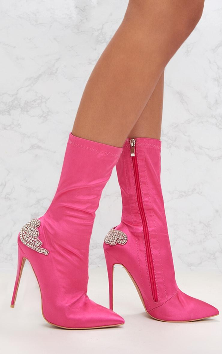Fuchsia Satin Diamante Detail Heeled Ankle Boots 1
