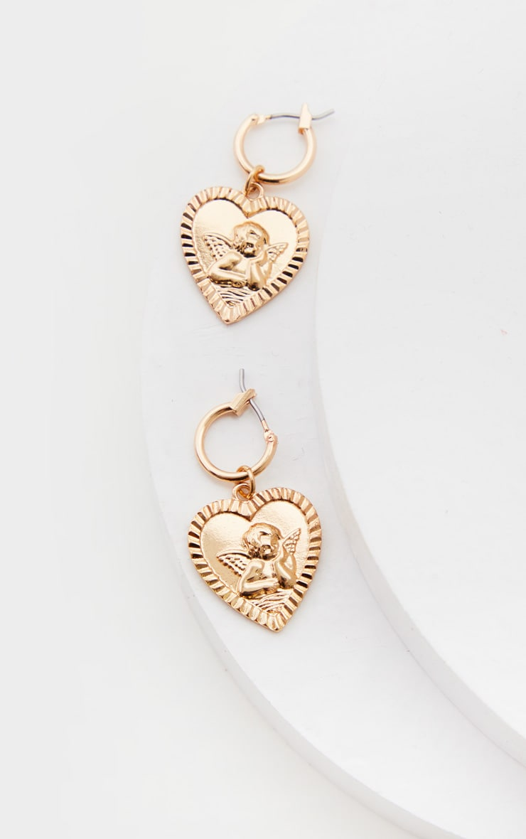 Gold Cherub Mini Hoops Earrings 3