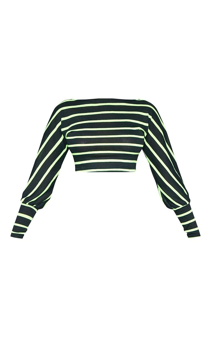 Tall Neon Green Striped Light Weight Knit Long Sleeve Crop Top  3