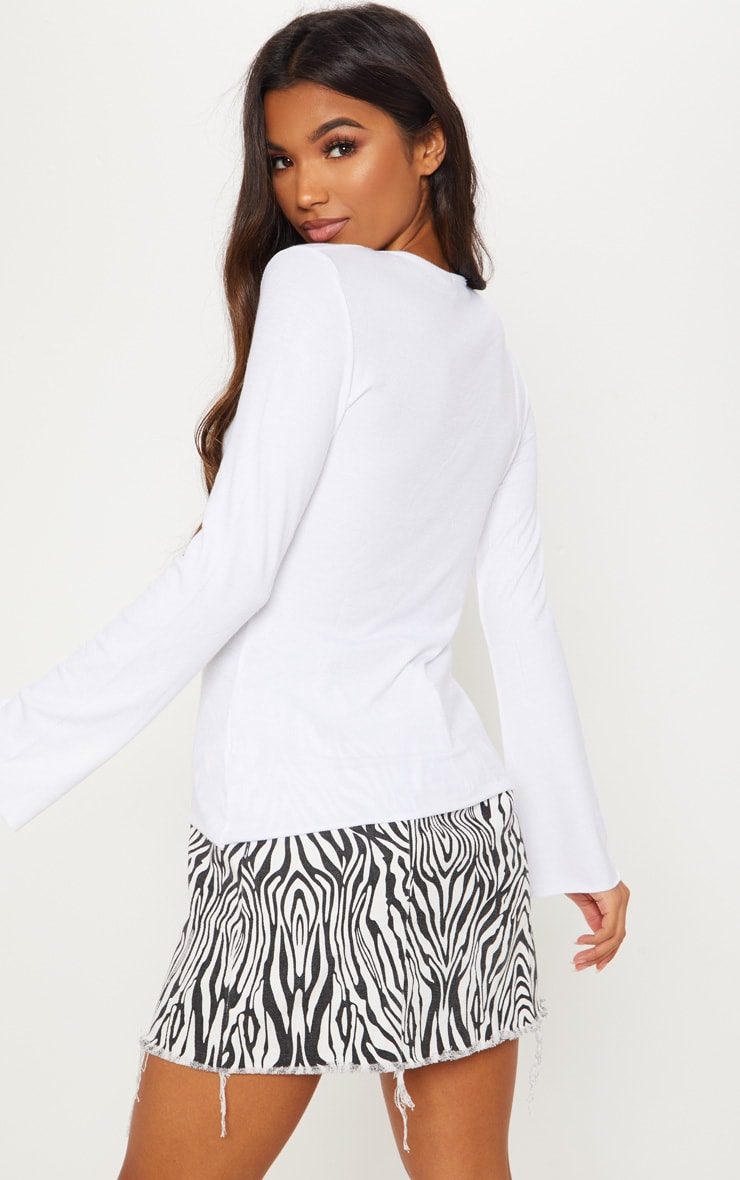 White Soft Rib Long Sleeve Crew Neck Top 2