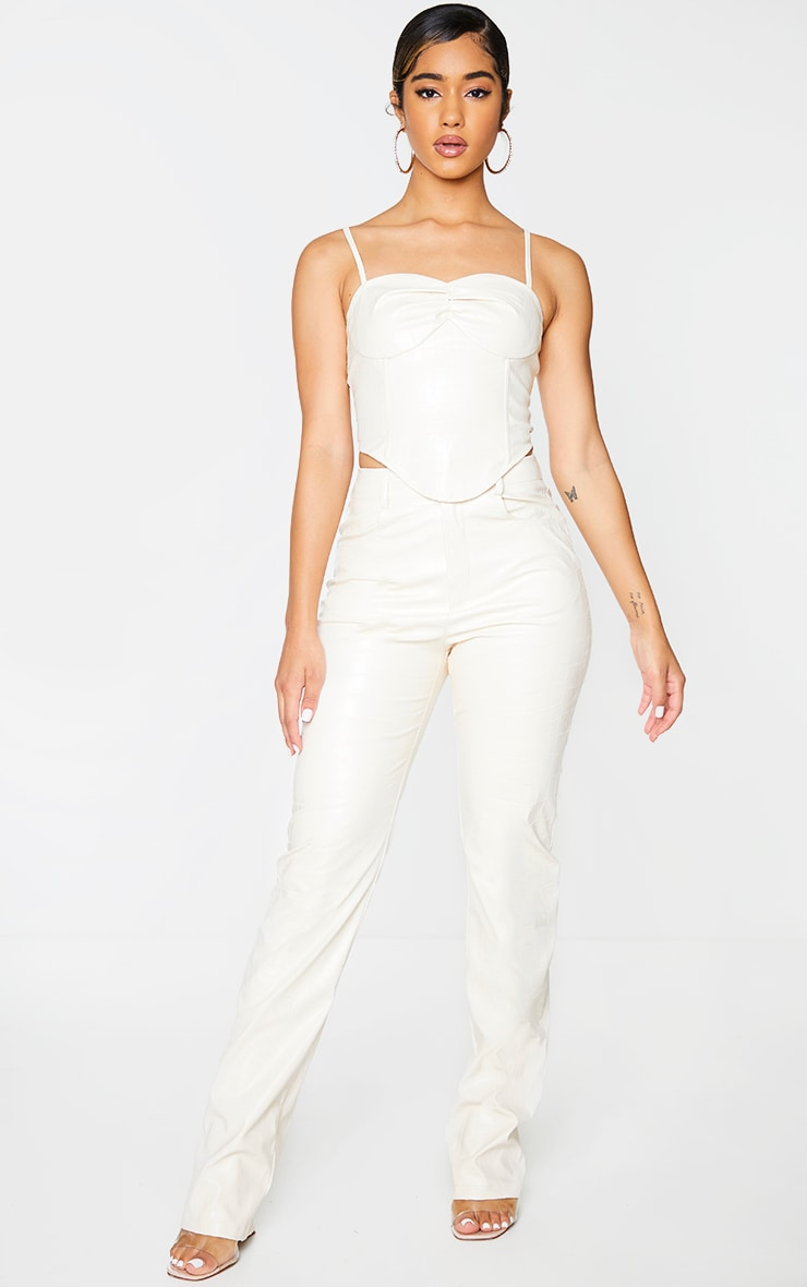 Cream Croc Print Faux Leather Cup Detail Strappy Corset Top 3