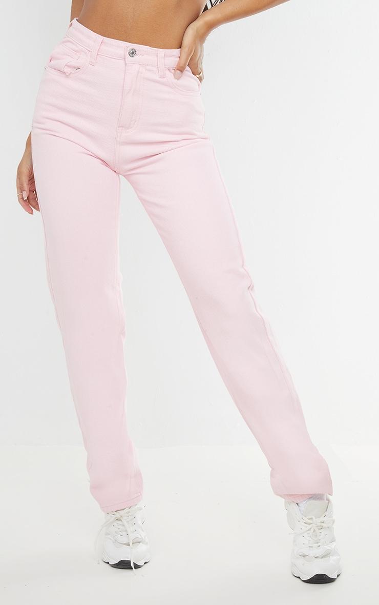 Pink High Waist Straight Leg Jeans 2