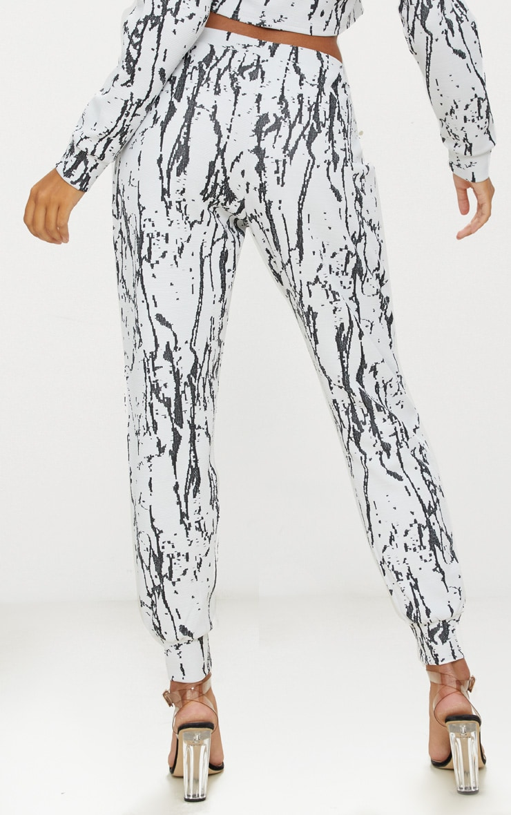 White Marble Effect Jacquard Track Pants 4