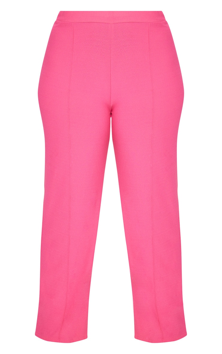 Plus Hot Pink High Waisted Wide Leg Trousers 3