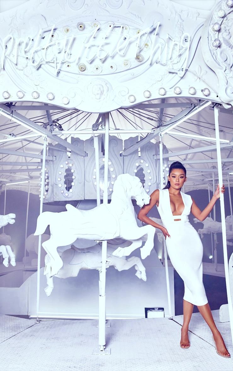 White Plunge Strap Midi Dress 1