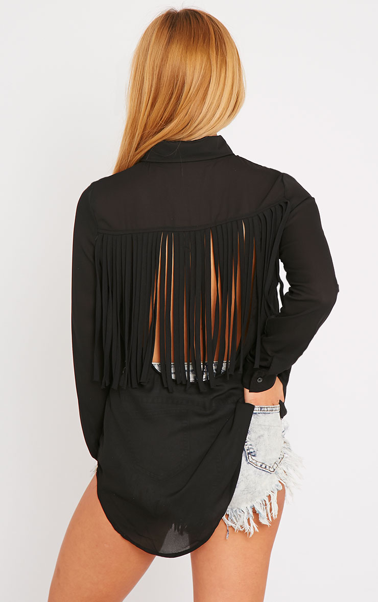 Anoki Black Fringe Back Chiffon Shirt 5